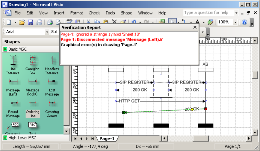 Verification Report in Microsoft Visio